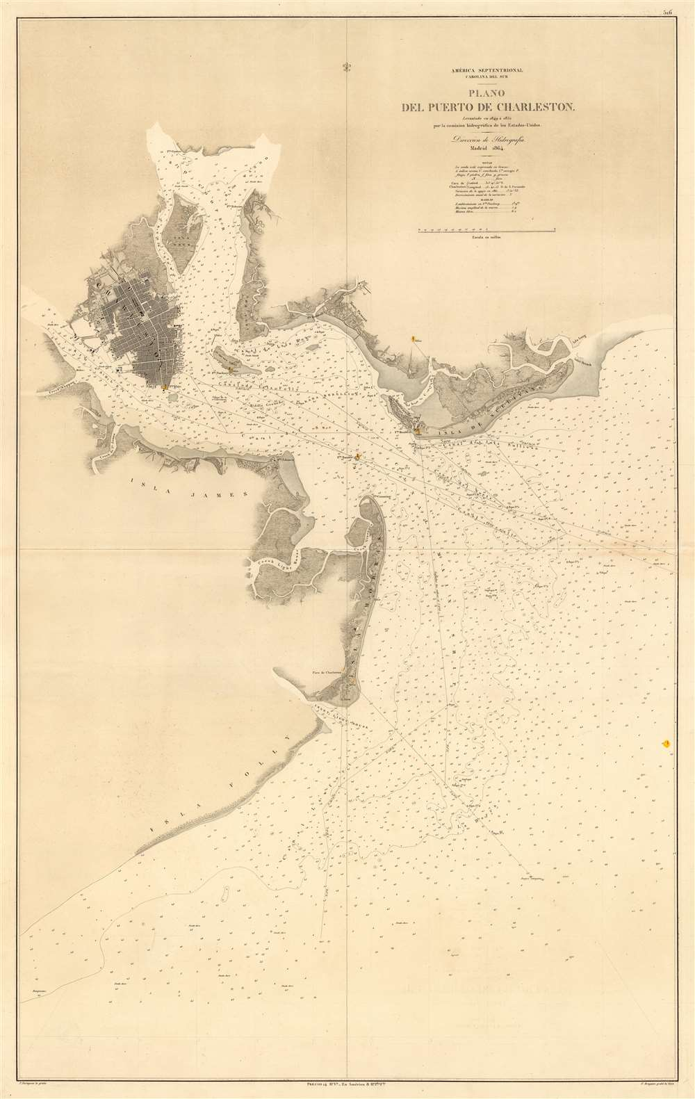 South Coast Of Spain Map.Details About 1864 Spanish Nautical Map Of Charleston Harbor South Carolina