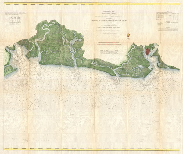 Coast Chart No. 53 Coast of South Carolina from Long Island to Hunting Island Including Charleston Charbor and St. Helena Sound. - Main View