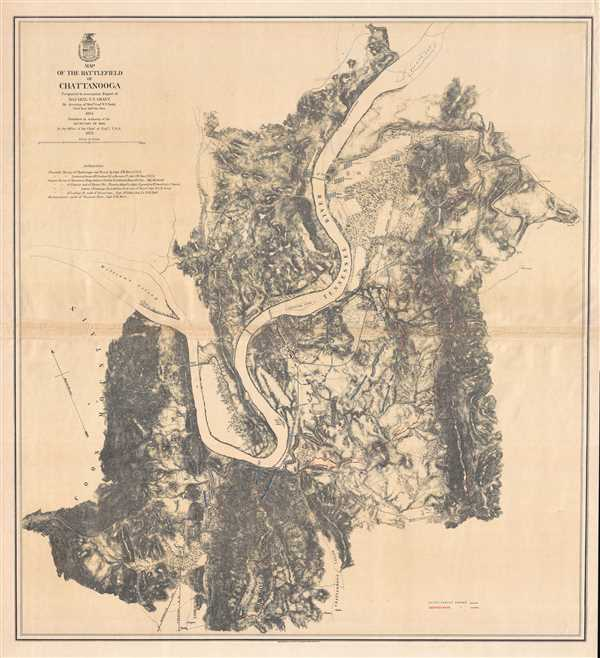 Map of the Battlefield of Chattanooga. Prepared to accompany Report of Maj. Gen. U.S. Grant by direction of Brig. Gen. W.F. Smith.