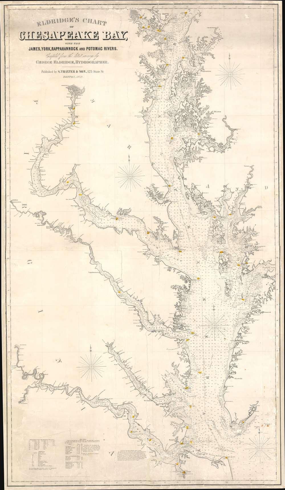 Eldridge's Chart of Chesapeake Bay, with the James, York, Rappahannock and Potomac Rivers. - Main View
