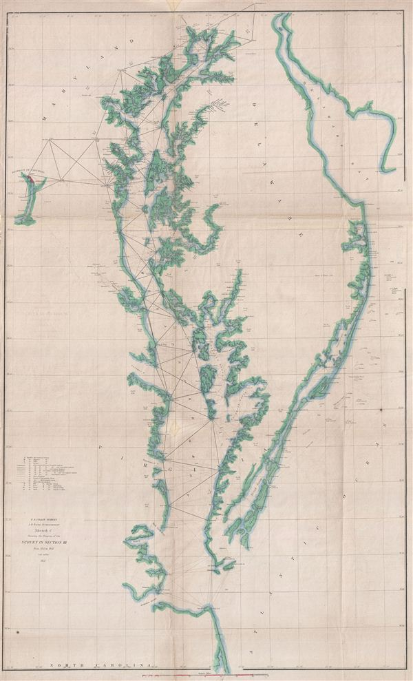 Sketch C Showing the Progress of the Survey in Section No. III From 1843 to 1851.