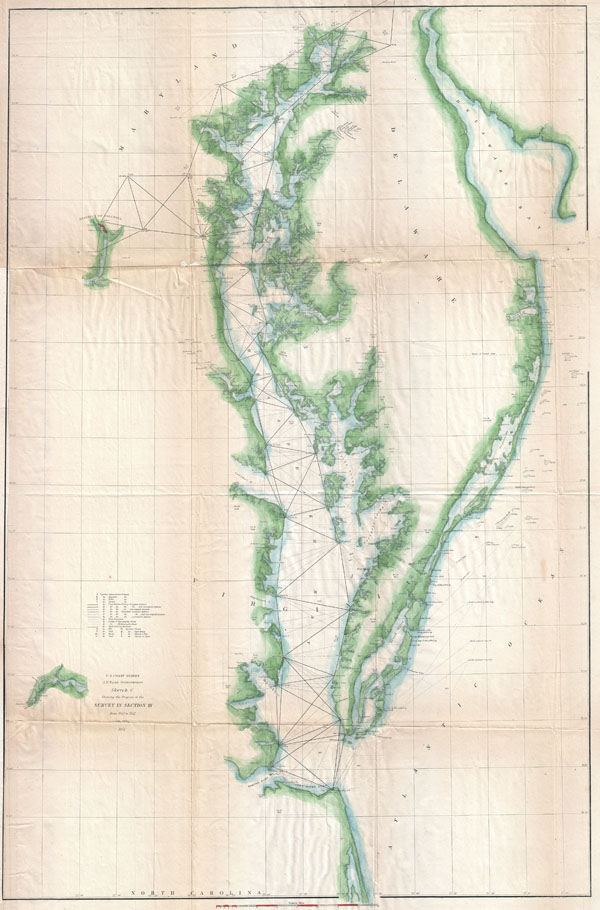 Sketch C Showing the Progress of the Survey in Section III From 1843 to 1852.