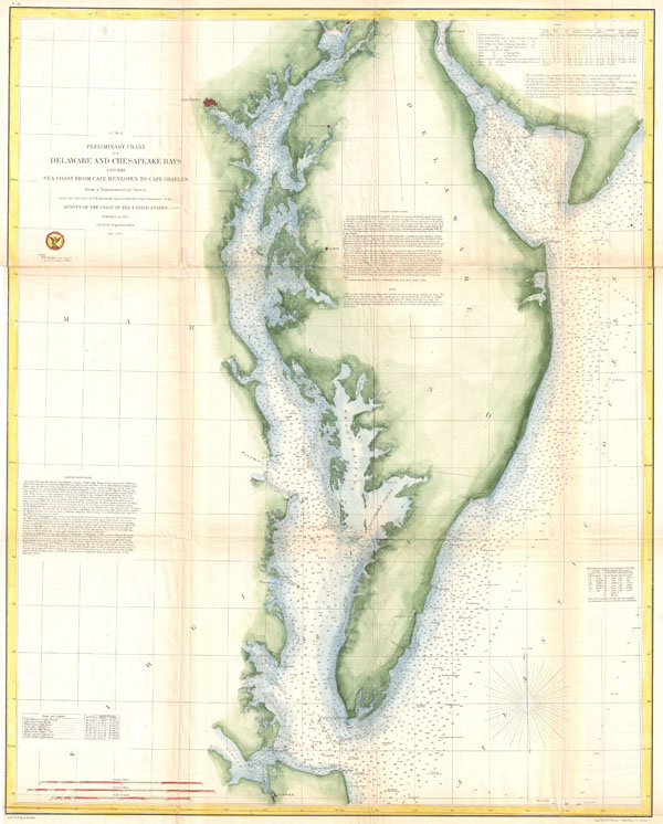 (C No. 3) Preliminary Chart of Delaware and Chesapeake Bays and the Sea Coast from Cape Henlopen to Cape Charles. - Main View