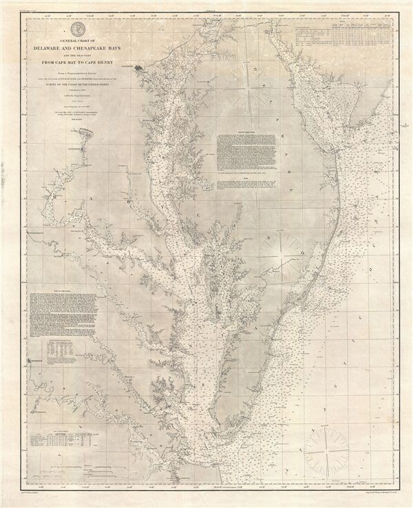 General Chart of Delaware and Chesapeake Bays and the Sea Coast from Cape May to Cape Henry.