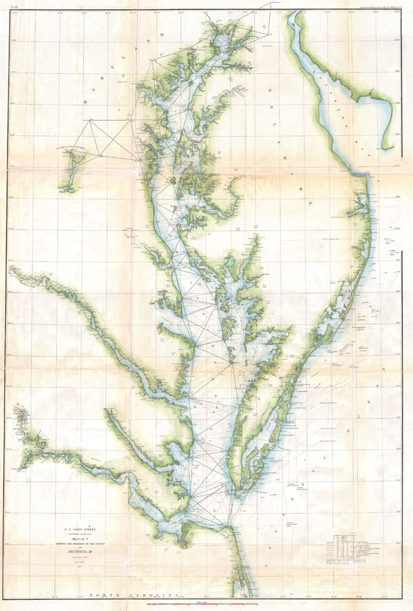 U.S. Coast Survey Sketch C Showing the Progress of the Survey in Section No. III from 1843 to 1857.