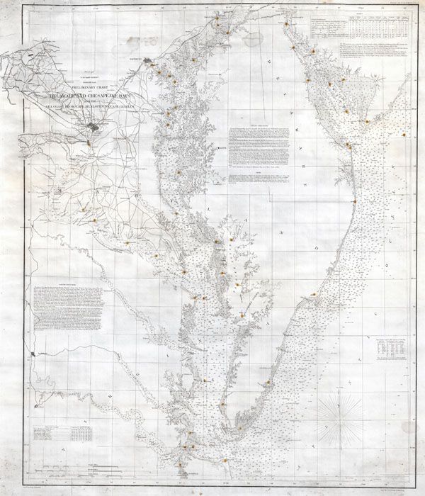 Preliminary Chart of Delaware and Chesapeake Bays and the Sea Coast from Cape Henlopen to Cape Charles. - Main View