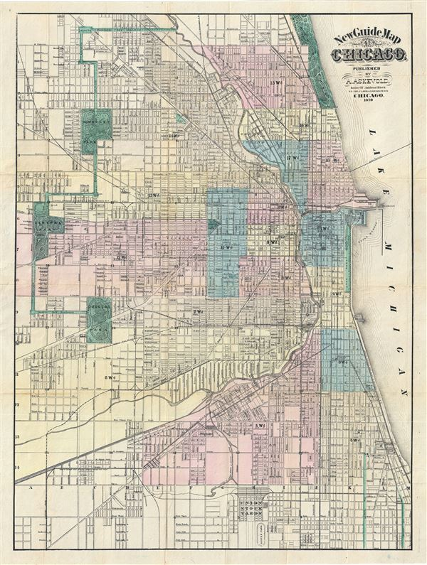New Guide Map of Chicago. Abraham Lincoln Presidential Library, GZ896 C53 (1875) A834.