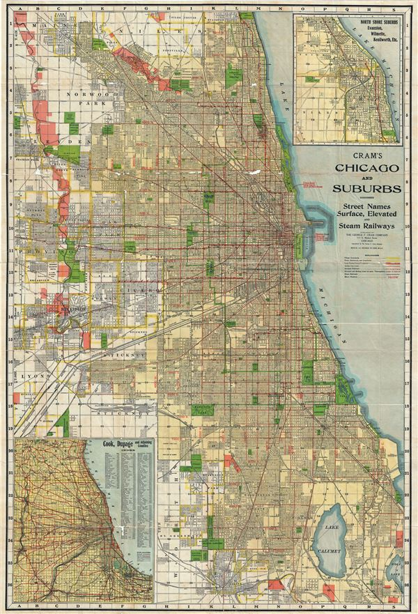 Cram's Chicago and Suburbs. - Main View