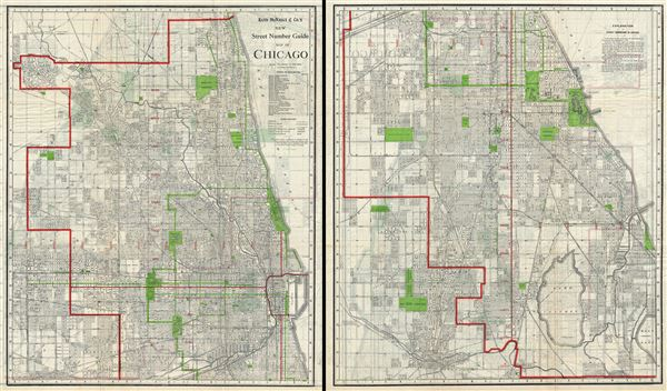 Rand McNally and Co.'s New Street Number Guide Map of Chicago.