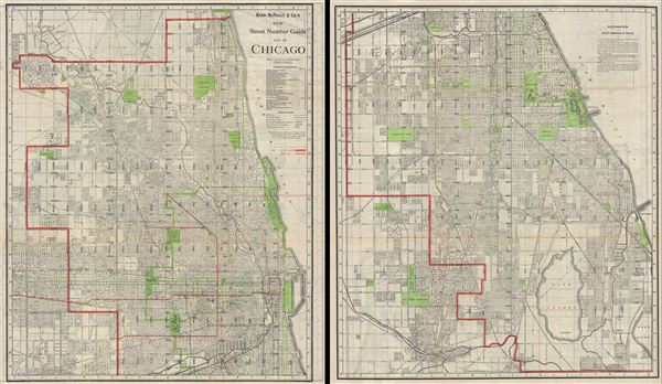 new street number guide map of chicago   geographicus rare