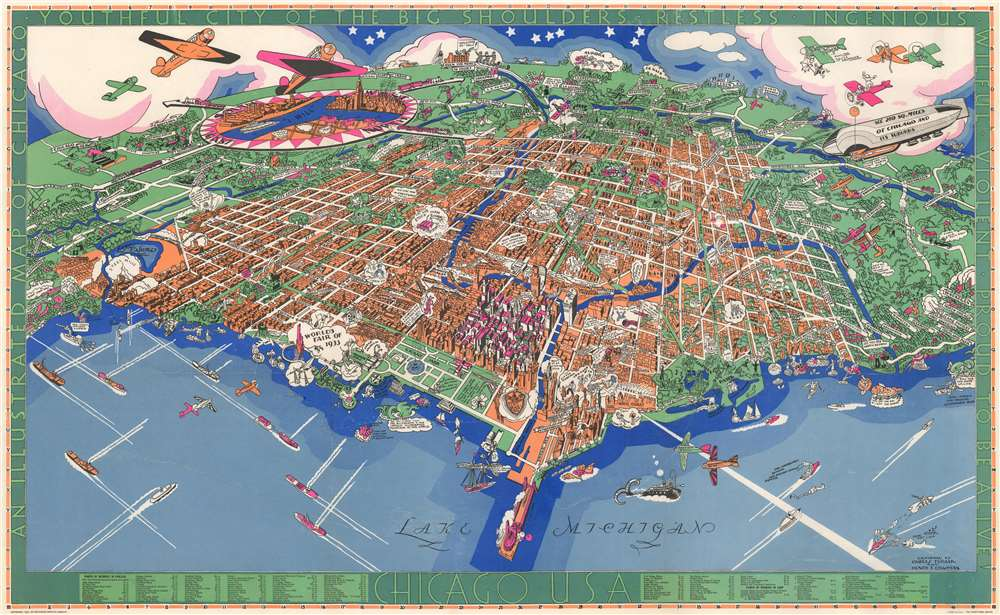 Chicago U.S.A. An Illustrated Map of Chicago Youthful City of the Big Shoulders. - Main View