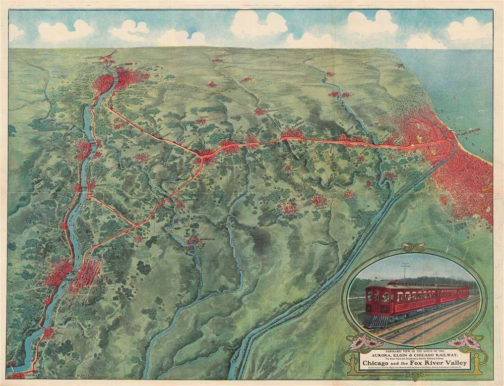 Panoramic View of the Route of the Aurora, Elgin and Chicago Railway, The Great Thrid-rail Double-track Electrice Railroad between Chicago and the Fox River Valley Connecting at Aurora, Elgin, and Batavia with the lines of the Elgin Aurora and Southern Traction Co. - Main View