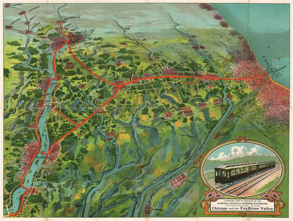 Panoramic View of the Route of the Aurora, Elgin, and Chicago Railroad. The Great Third-rail Double-track Electric Railroad connecting Chicago and the Fox River Valley. - Main View