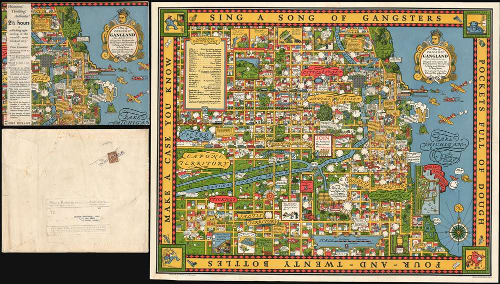 1931 Bruce-Roberts Pictorial Map of Chicago 'Gangland'