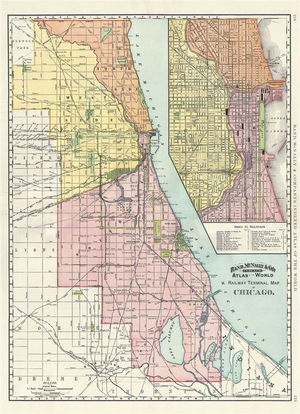 Railway Terminal Map of Chicago. - Main View