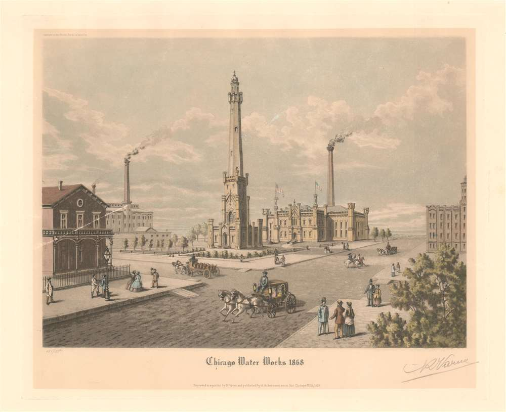 Chicago Water Works 1868. - Main View