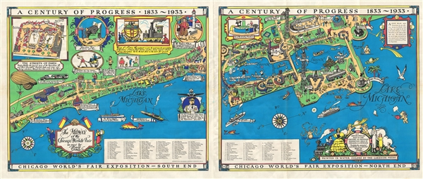 A Century of Progress, 1833-1933 : Chicago World's Fair Exposition.   /  The Midway of the Chicago World's Fair. / A Geographical Map of the Century of Progress Exposition Held in Chicago, Illinois 1933.