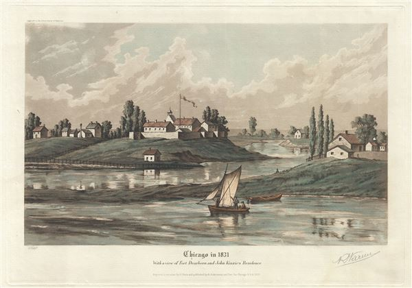 Chicago in 1831 With a view of Fort Dearborn and John Kinzie's Residence. - Main View