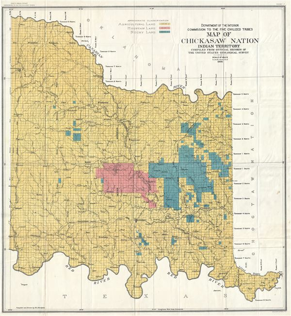 Department of Interior Commission to the Five Civilized Tribes Map of Chickasaw Nation Indian Territory Compiled from Official Records of The United States Geological Survey.