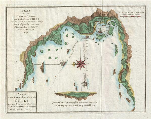 Plan d'une Baye de la Cote du Chili, decouverte par un des Vaisseaux d'Avitaillement de l'Escadre de Mr. Anson, en 1741. /  Plan van een Baai en Haven aan de Kust van Chili Ontdekt door een Proviand Schip van't Esquader van den ommandeur Anson in de Zuid-Zee 1741.