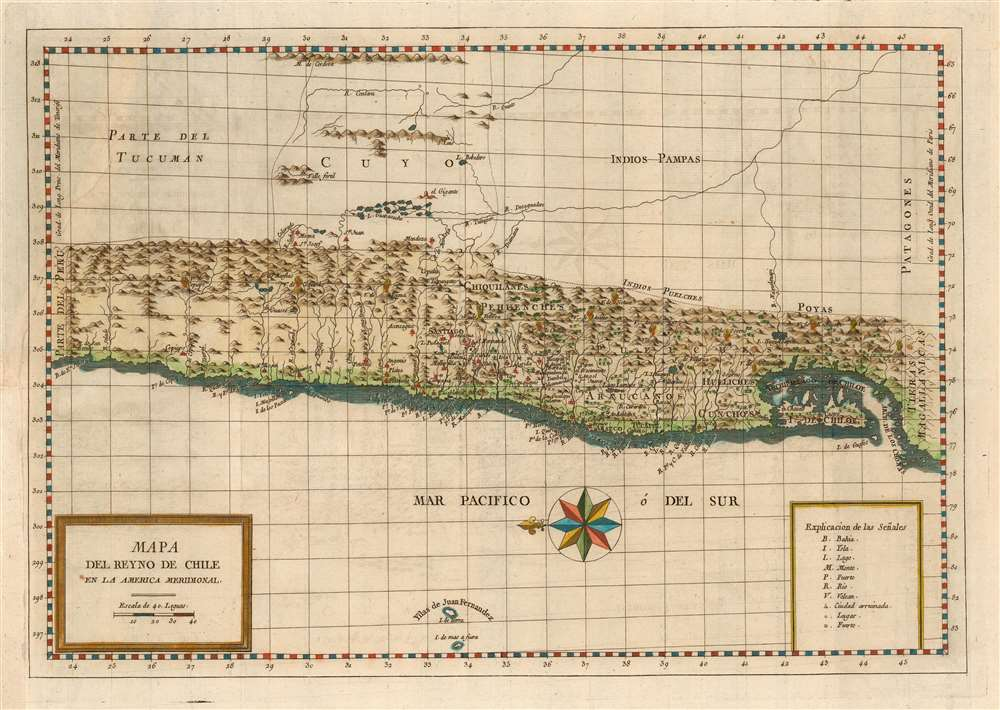 1788 Molina map of Chile and Argentina