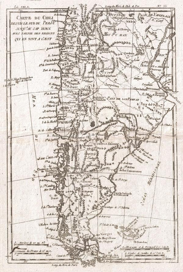 Carte Du Chili Depuis Le Sud Du Perou Jusqu'au Cap Horn Avec Partie Des Regions Qui En Sont A L'Est - Main View