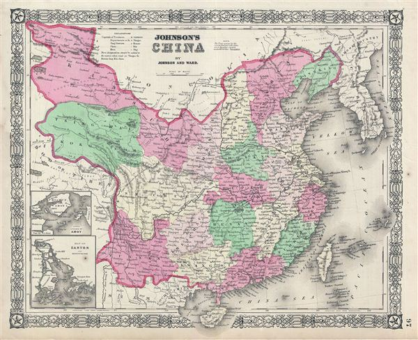 Taiwan China Map.Johnson S China Geographicus Rare Antique Maps