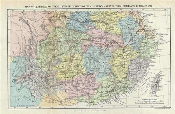 Map of Central & Southern China, Illustrating Mr. McCarth's Journey from Chin-Kiang to Bhamo 1877.
