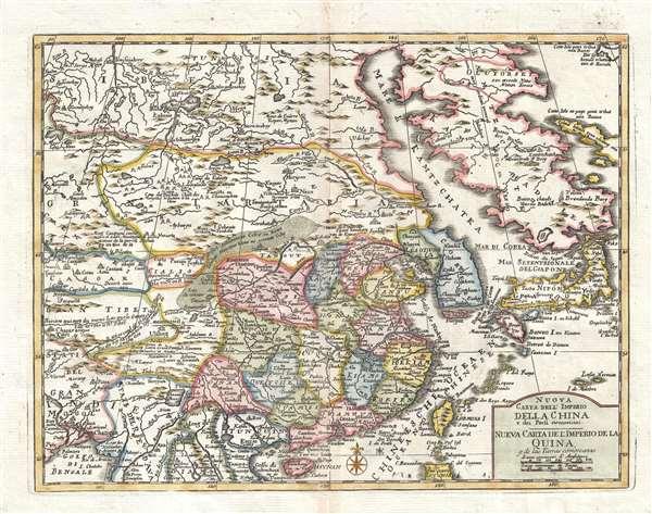 Nuova Carta dell'Imperio della China e dei Paesi circonvicini. / Nueva Carta de l'Imperio de la Quina u de la Tierras comarcanas.