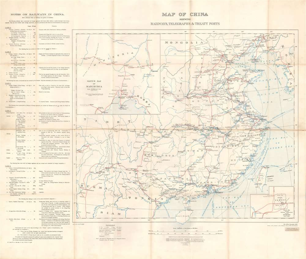 Map of China Shewing Railways, Telegraphs, and Treaty Ports. - Main View