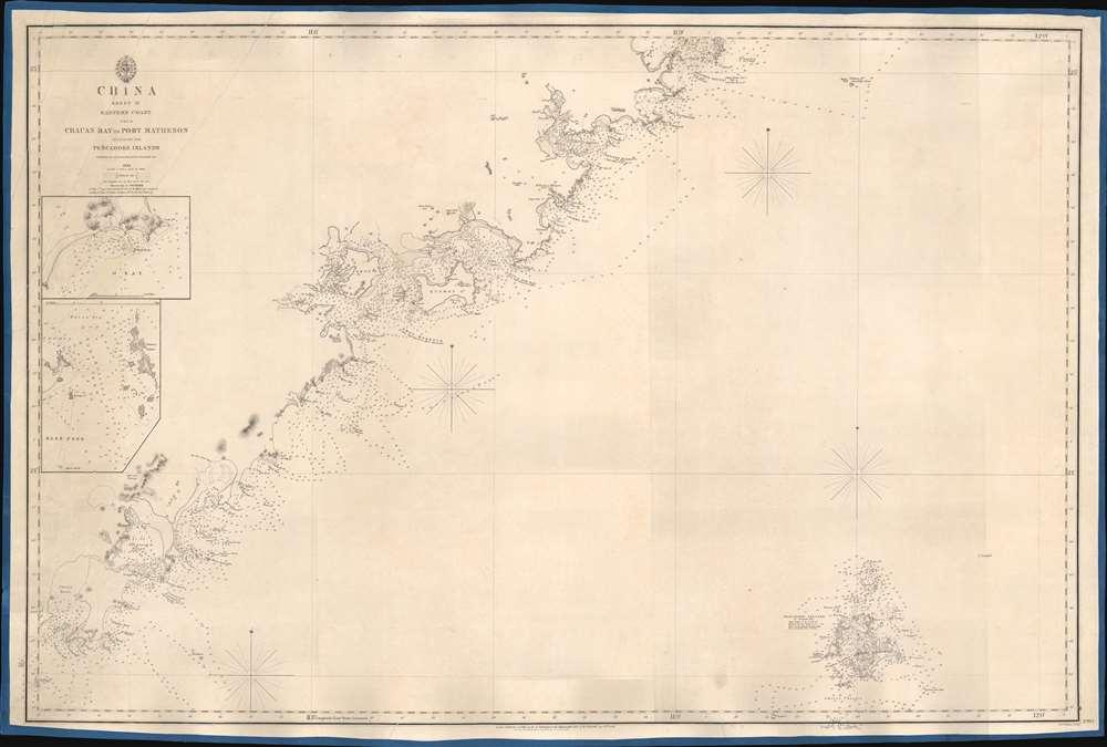 1849 Admiralty Blueback Nautical Map of Fujian (Xiamen / Amoy) China