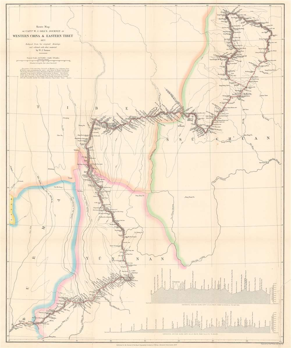 Route Map of Captain W. J. Gill's Journey in Western China and Eastern Tibet. - Main View
