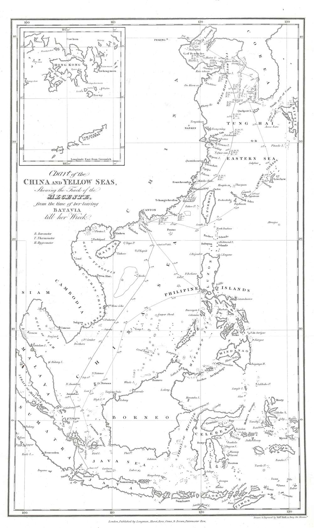 Chart of the China and Yellow Seas, Showing the Track of the <i>Alceste</i>, from the time of her leaving Batavia till her wreck. - Main View