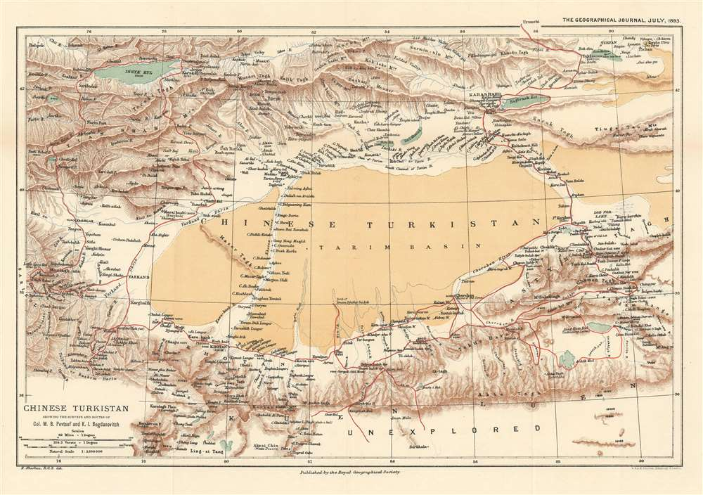 Chinese Turkistan Showing the Surveys and Routes of Col. M.B. Pevtsof and K.I. Bogdanovitch. - Main View