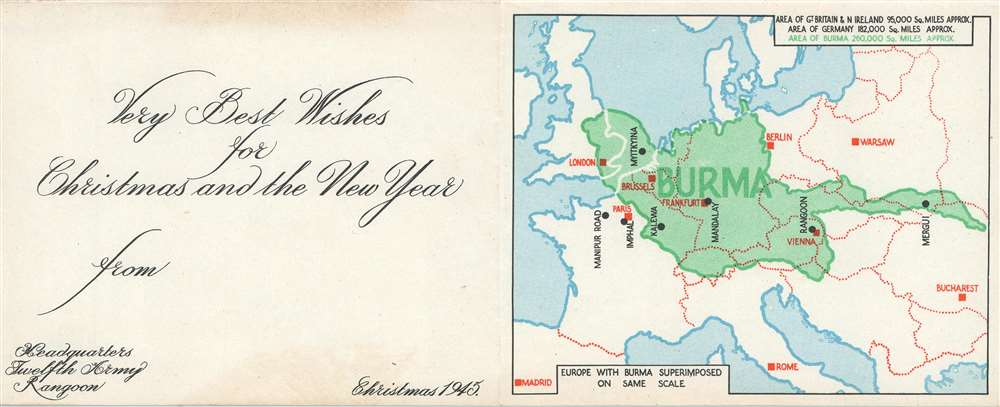 1945 British Twelfth Army Christmas Card Map of Burma