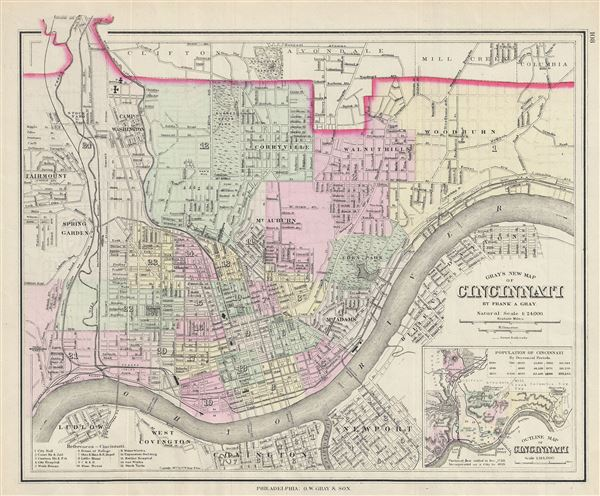 Gray's New Map of Cincinnati. - Main View