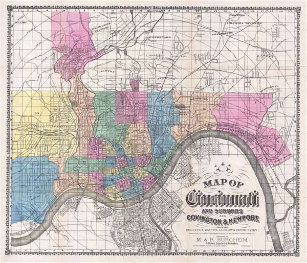 Map of Cincinnati and Suburbs and Covington and Newport.  Bellevue, Dayton, Ludow, and Bromley, [KY]