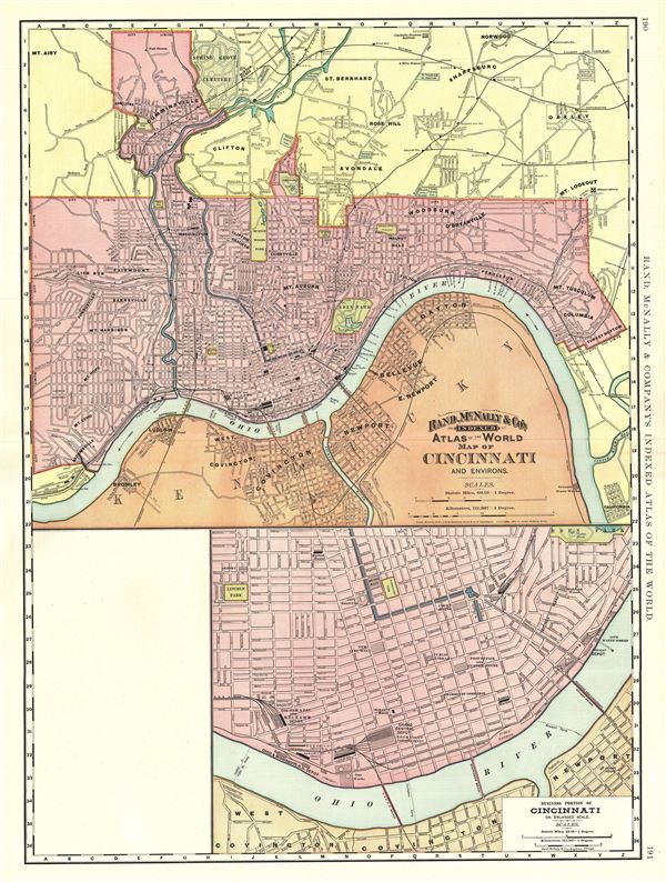 Map of Cincinnati and Environs.