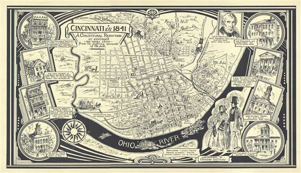 Cincinnati in 1841. A Conjectural Rendition as envisaged 100 years later from the baffling accounts of the past.