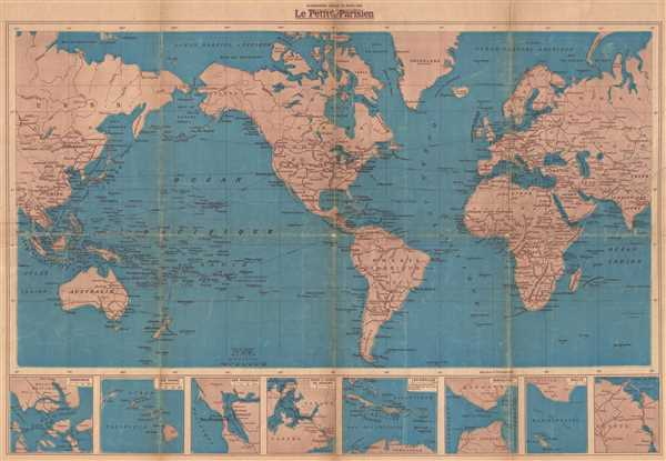 Map Of World 1939.Les Cinq Parties Du Monde Grande Carte Nouvelle Dressee Et Editee