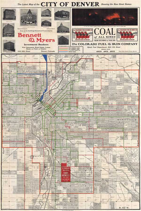 The Latest Map of the City of Denver Showing the New Street Names.