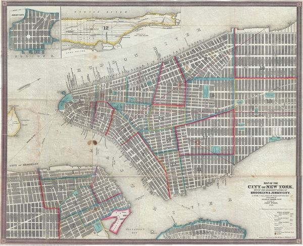 Map of the City of New York, with the Adjacent Cities of Brooklyn and Jersey City, and the Village of Williamsburg.