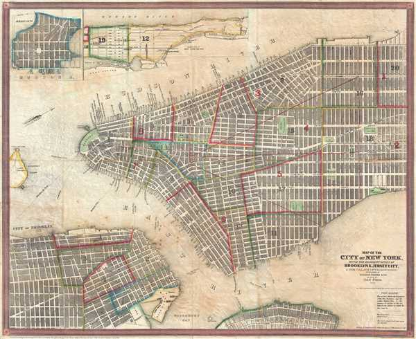 Map of the City of New York, with the Adjacent Cities of Brooklyn and Jersey City, and the Village of Williamsburg. - Main View