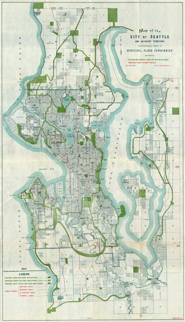 Map of the City of Seattle and adjacent territories accompanying report of Municipal Plans Commission.
