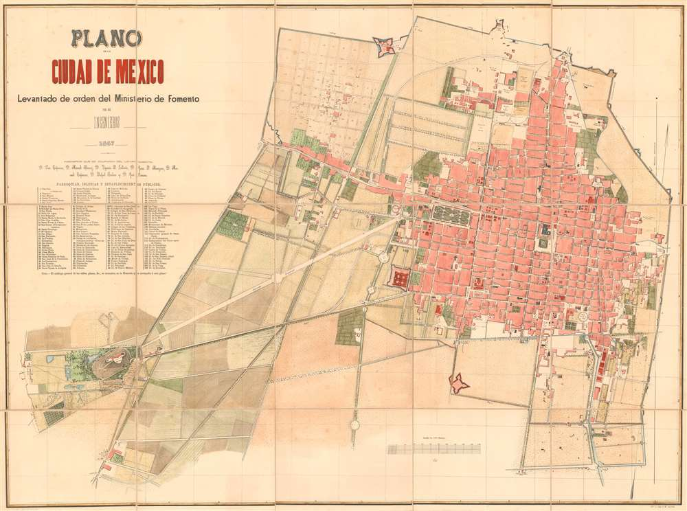 1867 Ministerio de Fomento City Plan or Map of Mexico City, Mexico