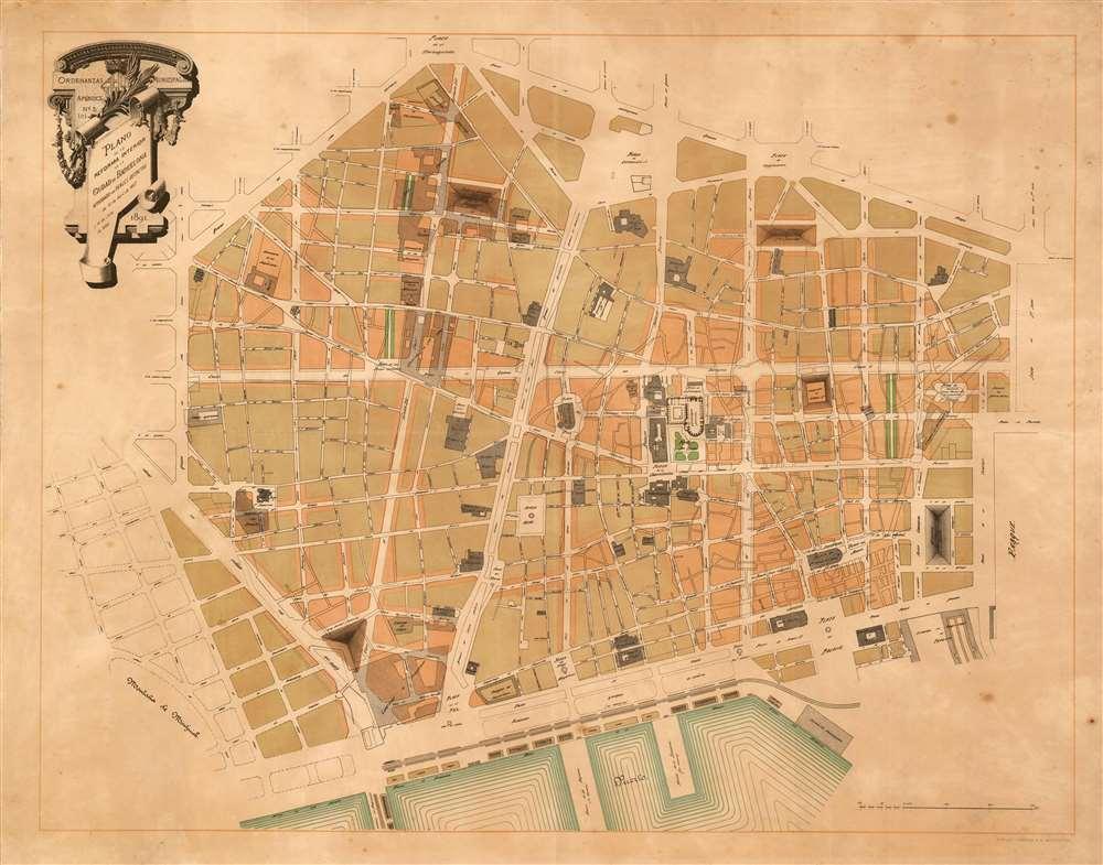 Ordenanzas Municipales Apendice No. 1 (c) Plano de la Reforma Interior de la Ciudad de Barcelona Aprobado por Reales Decretos de 12 de Abril de 1887 y 14 de Julio de 1889. 1891. - Main View