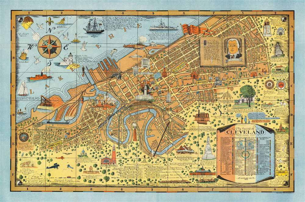 1928 Suchy Pictorial Map of Cleveland, Ohio
