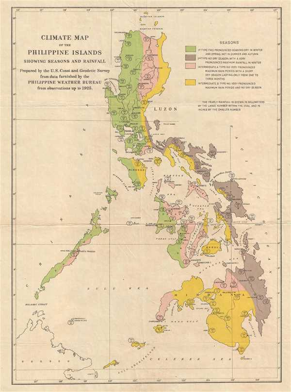 Climate Map of the Philippine Islands showing Seasons and Rainfall.