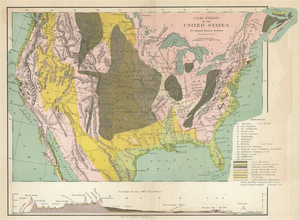 1866 Daddow Map of United States Coal Fields
