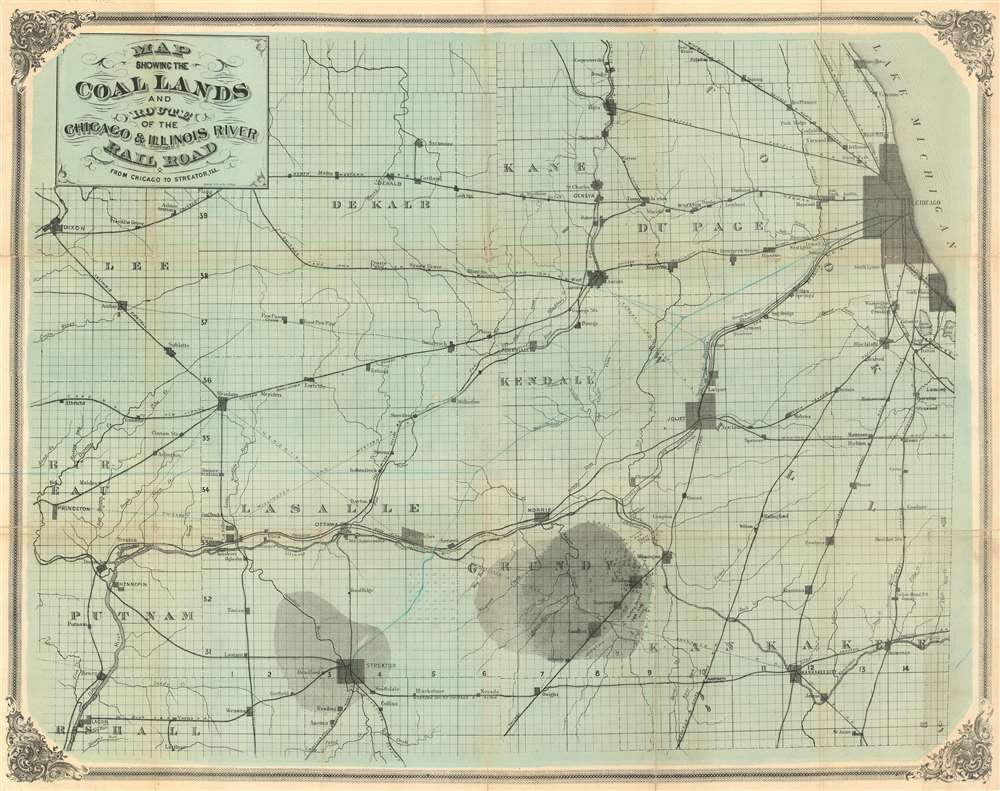 Map showing the Coal Lands and Route of the Chicago and Illinois River Railroad from Chicago to Streator, Ill. - Main View